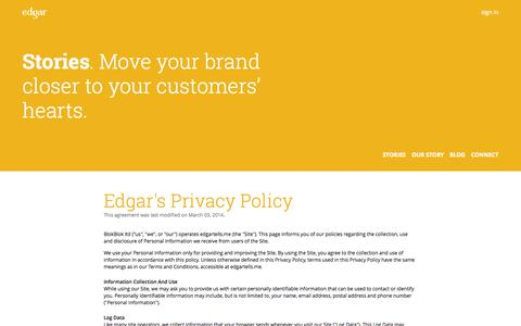Screenshot of Privacy Page edgartells.me - Privacy Policy - captured Oct. 27, 2014