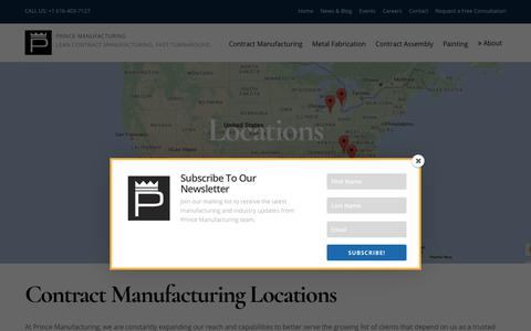 Screenshot of Locations Page princemanufacturing.com - Contract Manufacturing Locations - Prince Manufacturing - captured July 22, 2018