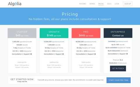 Screenshot of Pricing Page algolia.com - Algolia | Search as a Service Pricing - captured July 20, 2014