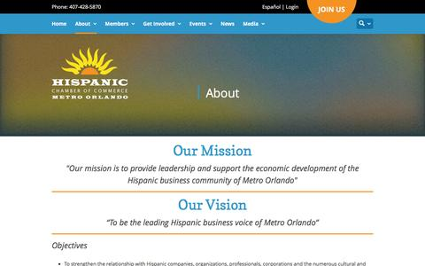 Screenshot of About Page hccmo.org - About | Hispanic Chamber of Commerce of Metro Orlando - captured Jan. 29, 2016