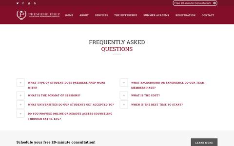 Screenshot of FAQ Page premiereprep.net - FAQ | Premiere PrepPremiere Prep - captured Dec. 12, 2015