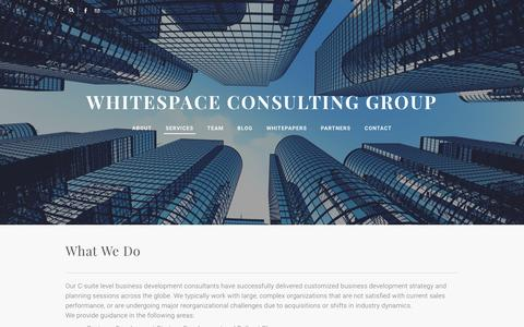 Screenshot of Services Page whitespace-consulting.com - Sales Consulting |  Whitespace Consulting Group | About - Whitespace Consulting Group - captured Feb. 16, 2016