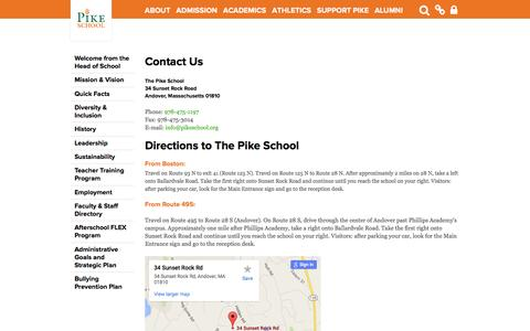 Screenshot of Maps & Directions Page pikeschool.org - The Pike School: Contact Us & Directions - captured June 22, 2016