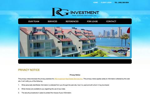 Screenshot of Privacy Page rginvestmentre.com - Contact RG Investment | Professional Property Management Company | San Diego, CA - captured Oct. 26, 2014