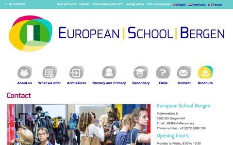Screenshot of Contact Page esbergen.eu - Contact | European School of Bergen (NL) - captured Nov. 11, 2016