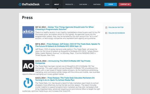 Screenshot of Press Page thetradedesk.com - Press «  The Trade Desk - captured Sept. 17, 2014