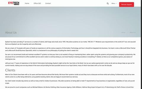 Screenshot of About Page eyetechltd.com - About Us   Eyetech LtdEyetech Ltd - captured Sept. 27, 2015