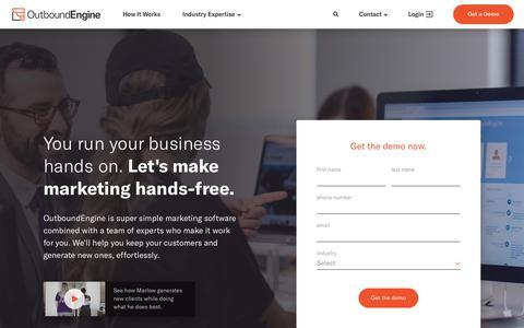 Screenshot of Home Page outboundengine.com - OutboundEngine - Marketing Automation for Small Businesses - captured Nov. 4, 2018