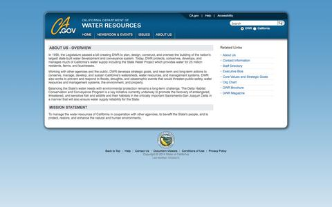 Screenshot of About Page ca.gov - California Department of Water Resources - captured Sept. 13, 2014