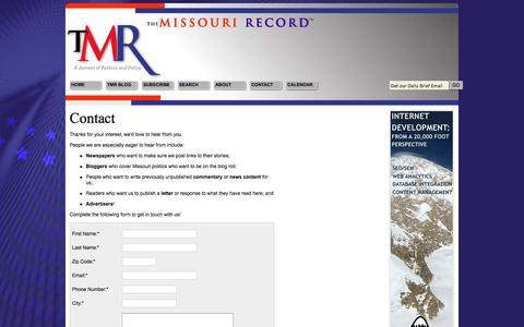 Screenshot of Contact Page missourirecord.com - Contact Us - captured Dec. 17, 2016