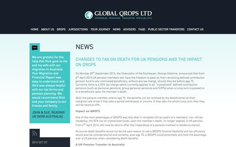 Screenshot of Press Page globalqrops.com - Global QROPS Latest QROPS News - captured Oct. 8, 2014