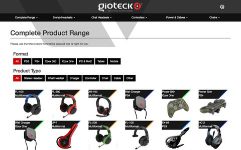 Screenshot of Products Page gioteck.com - Gioteck - Complete Product Range - captured July 14, 2018