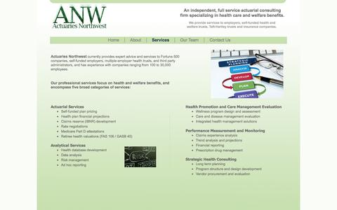 Screenshot of Services Page actuariesnw.com - Actuaries Northwest - Healthcare - Actuarial Services - captured Oct. 4, 2014