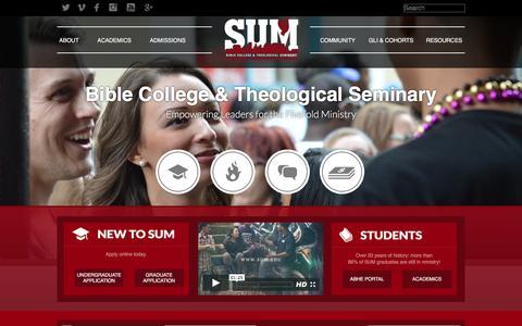 Screenshot of Home Page sum.edu - SUM Bible College & Theological Seminary - captured Feb. 2, 2016