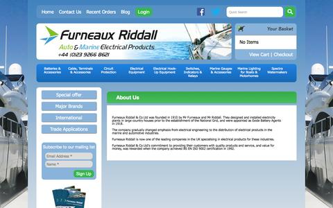 Screenshot of About Page furneauxriddall.com - About Us | Marine Electrical Suppliers - captured Nov. 3, 2014