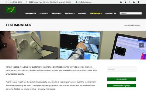 Screenshot of Testimonials Page ebatco.com - Testimonials - EbatcoEbatco - captured July 15, 2018