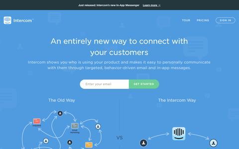 Screenshot of Home Page intercom.io - User Intelligence and Customer Communication | Intercom - captured Sept. 16, 2014