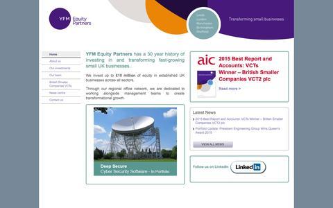 Screenshot of Home Page yfmep.com - YFM - YFM Equity Partners - Transforming small businesses - captured Sept. 4, 2015