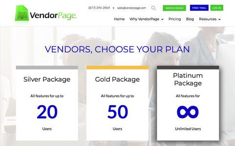 Screenshot of Pricing Page vendorpage.com - Pricing | VendorPage - captured July 8, 2018