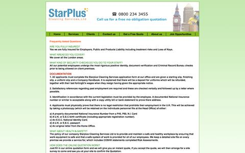 Screenshot of FAQ Page starplusservices.com - Contract Cleaning company Faq's - captured Oct. 7, 2014