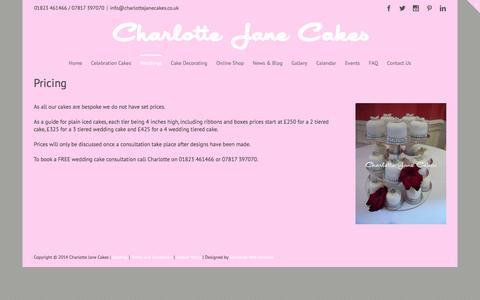 Screenshot of Pricing Page charlottejanecakes.co.uk - Pricing - Charlotte Jane Cakes - captured Jan. 27, 2016