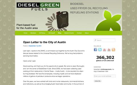 Screenshot of Blog dieselgreenfuels.com - Blog   DieselGreen Fuels   DieselGreen Fuels is Austin's only source of biodiesel. We collect used cooking oil from 200 local restaurants, which supply the raw materials, which are then converted in biodiesel by Pacific Biodiesel Texas, and sold by o - captured Sept. 30, 2014