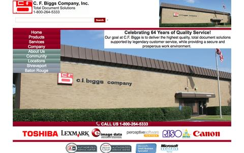 Screenshot of Products Page Services Page Locations Page cfbiggs.com - C. F. Biggs Company, Inc.  (800) 264-5333 - captured Oct. 1, 2014