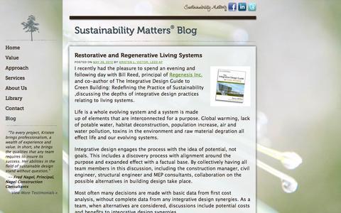 Screenshot of Blog sustainabilitymatters.us - Blog | Sustainability Matters - captured Sept. 30, 2014