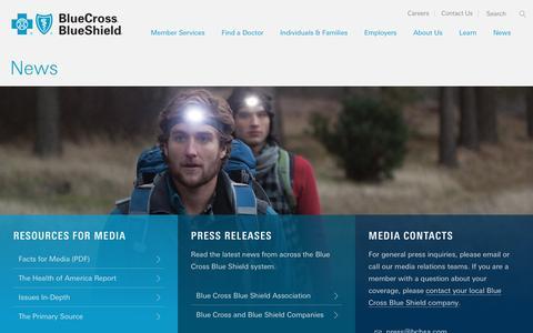 Screenshot of Press Page bcbs.com - News | Blue Cross Blue Shield - captured Nov. 22, 2016