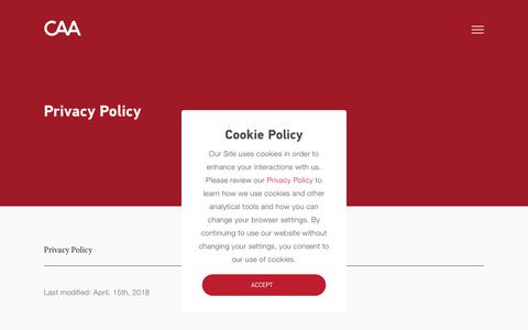 Screenshot of Privacy Page caa.com - Privacy Policy | CAA - captured July 12, 2018