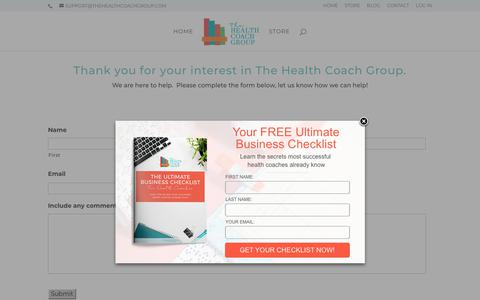 Screenshot of Contact Page thehealthcoachgroup.com - Contact | The Health Coach Group - captured June 2, 2018