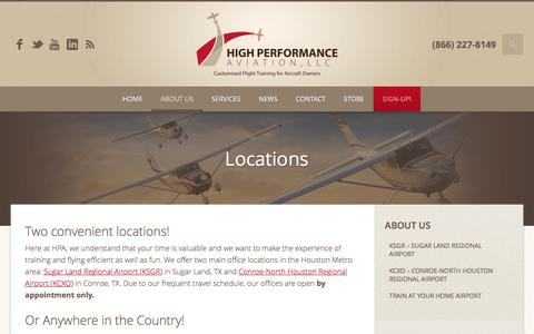 Screenshot of Locations Page flyhpa.com - Locations // KSGR // KCXO | High Performance Aviation, LLC | Customized Flight Training for Aircraft Owners - captured Nov. 8, 2016