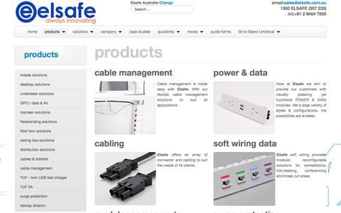 Screenshot of Products Page elsafe.com.au - power & data solutions for any environment - captured Nov. 6, 2016
