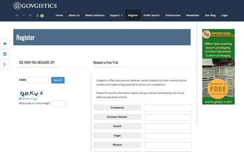 Screenshot of Trial Page govgistics.com - Govgistics Sign Up - captured Oct. 21, 2019
