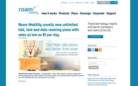 Screenshot of Press Page roammobility.com - Blog - Media  - Roam Mobility - captured Sept. 19, 2014