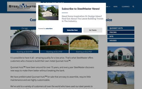 Screenshot of Pricing Page steelmasterusa.com - Quonset Hut Buildings: Sale and Pricing Information at SteelMaster - captured Oct. 18, 2018