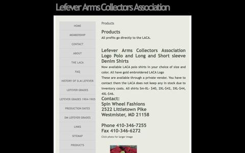 Screenshot of Products Page lefevercollectors.com - Products » Lefever Arms Collectors Association - Guns of Lasting Fame - captured June 10, 2016
