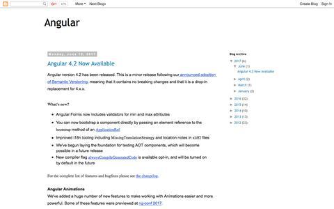 Screenshot of Blog angularjs.org - Angular - captured June 20, 2017