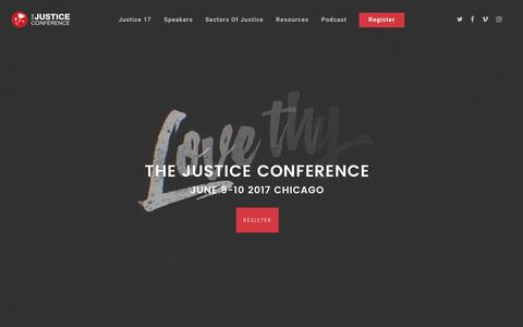 Screenshot of Home Page thejusticeconference.com - The Justice Conference - Chasing Justice Together - captured Nov. 11, 2016