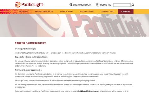 Screenshot of Jobs Page pacificlight.com.sg - Career Opportunities - captured Oct. 17, 2016