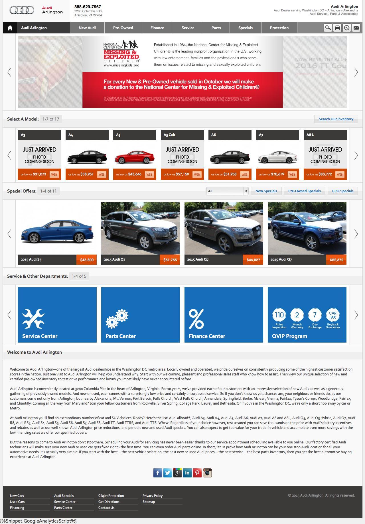 Web Design Example A Page On Audiofarlingtoncom Crayon - Audi arlington