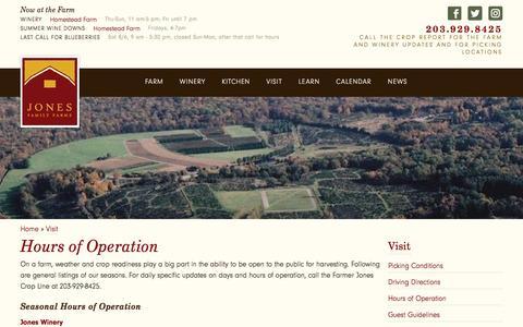 Screenshot of Hours Page jonesfamilyfarms.com - Hours of Operation | Jones Family Farms - captured Aug. 8, 2016