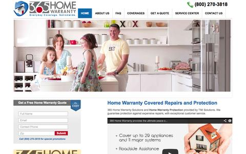Screenshot of Home Page 365homewarranty.com - Home Warranty Buyer Protection Plans | Appliance and Home System Warranty Coverage - captured Oct. 6, 2014