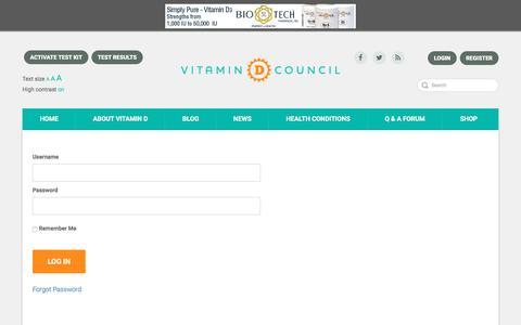 Screenshot of Login Page vitamindcouncil.org - Vitamin D Council| Members Login - captured May 7, 2017