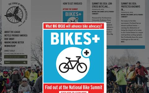 Screenshot of Home Page bikeleague.org - Home Page | League of American Bicyclists - captured Jan. 26, 2015