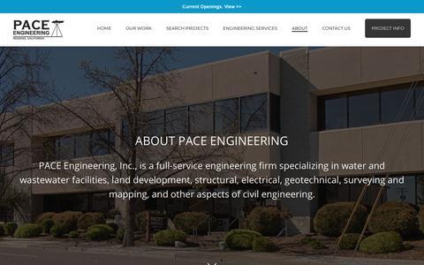 Screenshot of About Page paceengineering.us - Redding California Engineers, Professional California Civil Engineers - captured Dec. 7, 2018