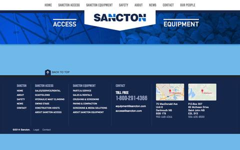 Screenshot of Terms Page sancton.com - Legal | Sancton - captured Oct. 4, 2014