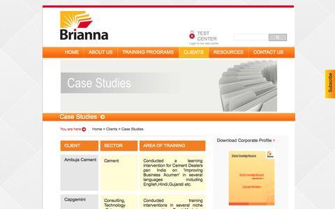 Screenshot of Case Studies Page brianna.co.in - ::Brianna:: - captured Oct. 5, 2014