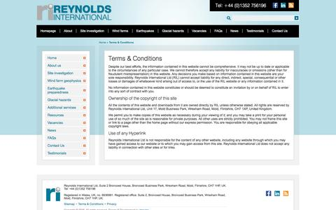 Screenshot of Terms Page reynolds-international.co.uk - Terms & Conditions – Reynolds International - captured Dec. 19, 2016