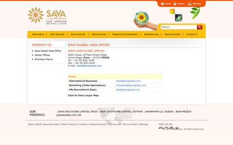 Screenshot of Contact Page savaglobal.com - Sava Global Head Office - captured Oct. 3, 2014